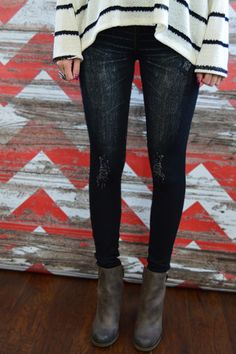 Black Distressed Jeggings – The ZigZag Stripe. Use coupon code ZZS72 to save 10%, and shipping is free! zigzagstripe.com