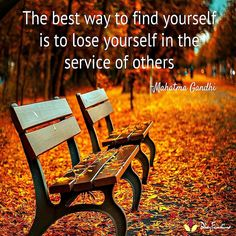 The best way to find yourself is to lose yourself in the service of others -Mahatma Gandhi  #HelpOthers #quoteoftheday #quote