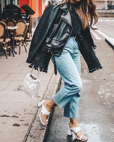 Moto jacket + block heel.