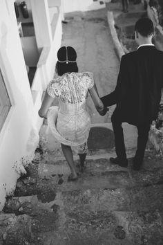 LANE Real Wedding / Sarah & Adam Santorini Elopement / Photography by Cassandra Ladru / LANE / Wedding Style Inspiration