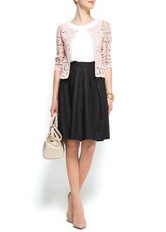 MANGO - CLOTHING - Full linen cotton skirt