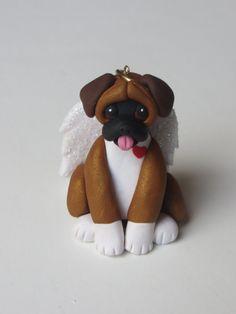 Boxer Dog Angel Polymer Clay Figurine Christmas by HeartOfClayGirl