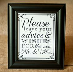 8 x 10 Guest Book Wedding Table Sign  Please leave your advice and wishes for the Mr. and Mrs.