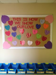 My Valentines Day bulletin board -  I asked each of my students how they show their parent's they love them and wrote it on the heart.  After that we rolled some marbles with paint all over their hearts.
