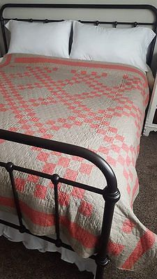 Classic-Antique-1880s-PA-Double-Pink-amp-Grey-Irish-Chain-QUILT-82x81-034-Never-Used