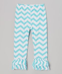 Take a look at this Blue & White Zigzag Ruffle Pants - Infant, Toddler & Girls by Tutus by Tutu AND Lulu on #zulily today!
