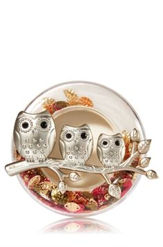 Owl Trio - Scentportable Holder - Bath & Body Works - Take fall wherever you go with these glittering leaves and a branch of 3 adorable  owls! Pair holder with your favorite Scentportable Refill to radiate fragrance into your car without a plug, battery or flame. The built-in clip base attaches to your visor or seat pocket for a scent-sational driving experience.