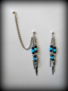 Cartilage Chain Earrings - Turquoise Feathers. $18.95, via Etsy.