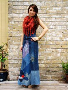 long denim skirt | Long denim skirts | Pinterest | Skirts, Denim ...