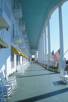 """The icon of Mackinac Island is the Grand Hotel. Built in the hotel is elegant and charming and has the longest summer porch in the world."" Somewhere in Time Mackinac Island Michigan, Michigan Travel, Lake Michigan, Wisconsin, Oh The Places You'll Go, Places To Travel, Places To Visit, Wonderful Places, Beautiful Places"