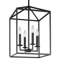 Small 4 Light Perryton Pendant in Blacksmith Finish by Sea Gull Lighting 5215004-839