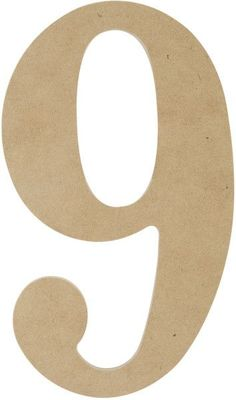 """mdf classic font wood letters & numbers 9.5""""-number 9"""
