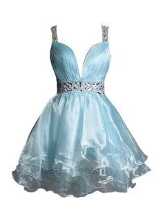 Sexy Straps A-line Knee Length Tulle Light Sky Blue Homecoming Dress With…
