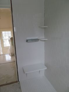 Shower bench seat, valves,  shelves, curb and tiling