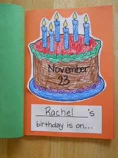 Birthday class book and lots of other class book ideas for September Kindergarten Writing, Preschool Literacy, Preschool Lessons, Kindergarten Classroom, Kindergarten Activities, Book Activities, Preschool Books, Preschool Printables, Classroom Ideas
