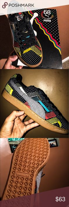 """Puma suede BLACK HISTORY MONTH """"BHM"""" Size 8.5. These are the BHM original puma suede. More colorful than the other versions. This shoe comes with its own original box with more vibrant colors with a gum bottom. New never worn shoe. Black History Month Puma Shoes Sneakers"""