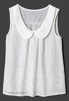 Peter Pan Collar Eyelet White Top - New Arrivals - Retro, Indie and Unique Fashion