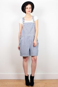 Vintage 90s Overalls Shorts Blue White Striped Denim Overall Shorts 1990s Shortalls Soft Grunge Romper Dungarees Playsuit L XL Extra Large by ShopTwitchVintage #1990s #90s #etsy #vintage #overalls #denim #shortalls #romper #playsuit #soft #grunge #softgrunge