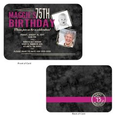 Delightful 75th birthday invitations features 2 photos of the celebrant. Matching party supplies make planning your party a breeze!