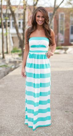 The Pink Lily Boutique - Mint Striped Maxi, $38.00 (http://thepinklilyboutique.com/mint-striped-maxi/)