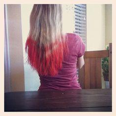 pink and blue. kool aid hair dye