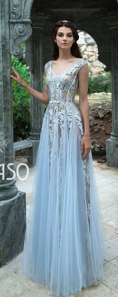 Bohemian A-Line Wedding Dresses Lace Short Cap Sleeve V-Neck Open Backless Milky Light Blue Tea Rose Tulle Beach Rustic Bridal Gown AQUA