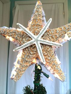 A Stunning Lighted Star For Your Coastal Christmas Tree! 12 Large Size  Whitewashed Starfish Topper