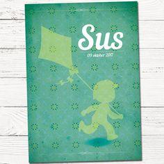 Geboortekaartje met silhouet jongen vlieger | retro | patroon | groen | origineel