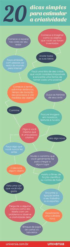 20 #dicas simples para estimular a #criatividade