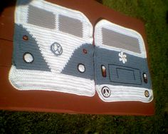 Crochet Patterns Pillow VW Camper crochet pillow, both front and back. (before putting together) by MrsG. Crochet Home, Crochet Gifts, Knit Crochet, Volkswagen Bus, Vw Camper, Volkswagen Beetles, Loom Knitting, Knitting Patterns, Crochet Patterns