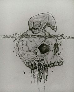 Dibujo a lápiz y plumilla negra