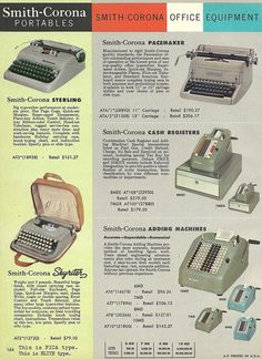 1950s Smith-Carona Portable Typewriter ad. #vintage #1950s #office #typewriter