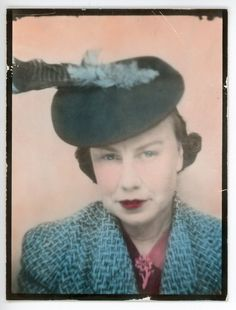 ** Vintage Photo Booth Picture **   Woman in matching coat and hat, hand tinted in turquoise.