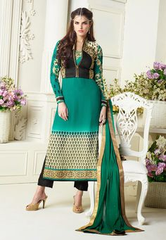Teal #Green Faux Georgette Straight Pant Kameez with Jacket