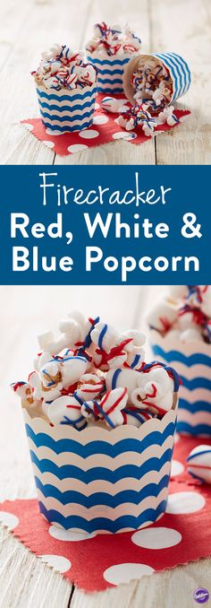 Firecracker Red, White & Blue Popcorn - Create a 4th of July treat that turns ordinary popcorn into a firecracker of a snack! Combine popcorn and mini marshmallows; melt and add Wilton® Red and Royal Blue Candy Melts® Candy for the burst of color and fun. Great for picnics and parties, place the popcorn in individual cups or one giant serving bowl for all your guests to grab and enjoy!
