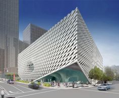 Exterior of The Broad from 2nd Street and Grand Avenue. Image courtesy of The Broad and Diller Scofidio + Renfro.