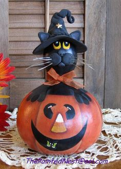 Witchkin Cat in a Pumpkin Gourd by ThePaintedNest on Etsy, $25.00