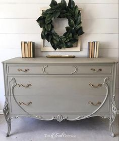 This Gorgeous Antique French dresser with polished original hardware has been Refinished in a beautiful Taupe color by called Linen. The gorgeous hand carvings on this piece are stunning. Painted Bedroom Furniture, Chalk Paint Furniture, Refurbished Furniture, Repurposed Furniture, Furniture Projects, Furniture Makeover, Vintage Furniture, Home Furniture, Cheap Furniture