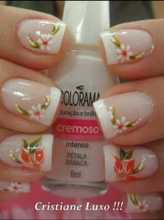 Beautiful and Unique Nails! Fabulous Nails, Gorgeous Nails, Pretty Nails, Holiday Nails, Christmas Nails, French Christmas, Holiday Makeup, Flower Nail Art, Super Nails