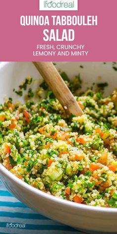Quinoa Tabbouleh Salad is a healthy Middle Eastern tabouli recipe with quinoa in place of bulgur and chock full of vegetables, mint, parsley and feta. Tabouleh Salat, Quinoa Tabouleh, Soup And Salad, Quinoa Salad Recipes, Healthy Recipes, Tabouli Recipe, Parsley Recipes, Mediterranean Recipes, Recipes