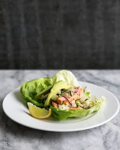 Salmon Lettuce Wraps with Cucumber, Jicama, and Ginger Recipe on SimplyRecipes.com light and cool, perfect for a hot summer day! #glutenfree #paleo #lowcarb