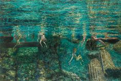 Maria Filopoulou,Underwater swimmers, ancient pool II,2013-2014. Oil on canvas,135 x 200cm.