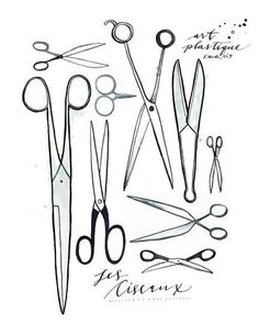 i love a collage of scissors, tools for envelope liners, back side of cards, etc.