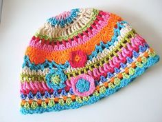 crafts for spring : colorful hat, crochet pattern | make handmade, crochet, craft