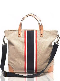 Tommy Hilfiger perfect for college My Bags, Purses And Bags, Tommy Hilfiger Handbags, Striped Tote Bags, Striped Canvas, Fabric Bags, Shopper Tote, Looks Style, Luxury Handbags