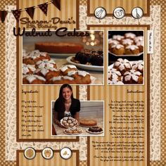 Walnut Cakes Recipe layout by Sharon-Dewi Stolp | Pixel Scrapper digital scrapbooking