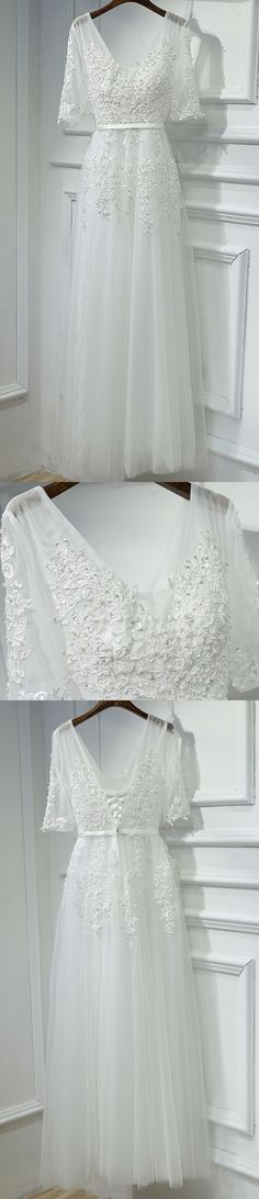 Off White Half Sleeves Tulle Applique Lace Up Back V Neck Long Prom Dresses, BGP005 #promdress #prom