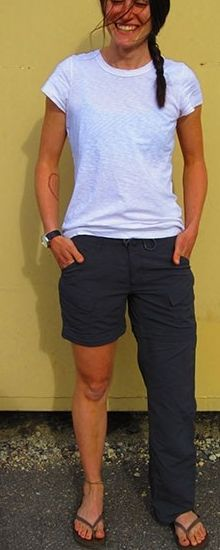 Convertible Shorts: zip off at the knee to become shorts or pants (as weather appropriate), originally a hiking garment.