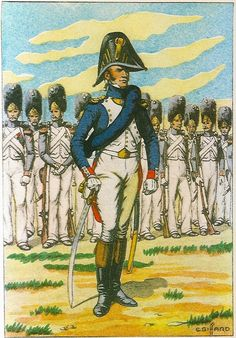 French; Imperial Guard, 1st & 2nd Regiments Grenadiers a Pied, Officier á pied(Captain), tenue de route. 1813.
