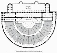 Plan of the Theater of Marcellus, Rome ARCHI/MAPS : Photo Architecture Mapping, Public Architecture, Architecture Plan, Theater Plan, Maps, Roman, Presentation, How To Plan, Blue Prints